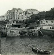 France Biarritz Port Et Eglise Ste Eugénie Ancienne Photo Stéréo CPS 1900 - Stereoscopic