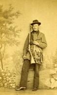 France Chasseur Costume Fusil De Chasse Ancienne CDV Photo 1860 - Photographs