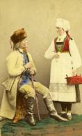Suede Couple Costume Traditionnel Mode Ancienne CDV Photo Colorié Eurenius 1868 - Photographs