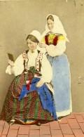 Suede Femmes Coiffure Costume Mode Ancienne CDV Photo Colorié Eurenius 1868 - Photographs