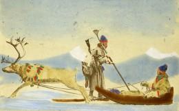 Suede Homme Traineau Renne Costume Traditionnel Ancienne CDV Photo Coloriée Eurenius 1868 - Photographs