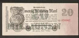 T. Germany Weimar Republic Reichsbanknote Zwanzig 20 Millionen Mark 20,000,000 1923 # 5J 070907 - [ 3] 1918-1933 : Weimar Republic