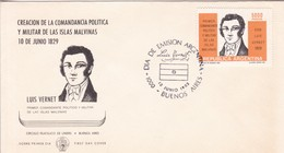 CREACION DE LA COMANDANCIA POLITICA Y MILITAR ISLAS MALINAS LUIS VERNET-FDC 1982. ILES MALOUINES MALVINAS- BLEUP - Falkland Islands