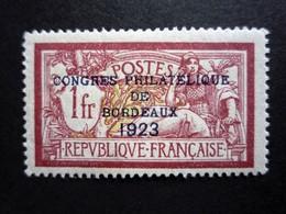 N° 182* Cogrès Philatélique De Bordeaux 1fr  Lie De Vin Et Olive Surchargé. 2 Signatures Dont Calves. - France