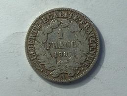 FRANCE 1 Franc 1887 A - Silver, Argent - France