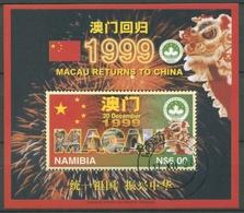 Namibia 1997 Rückgabe Macaus An China Drache Block 33 Gestempelt (C27636) - Namibia (1990- ...)