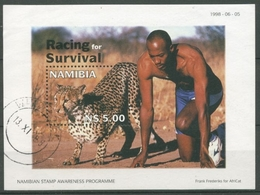 Namibia 1998 Wettrennen Gepard Gegen Mensch Block 41 Gestempelt (C27653) - Namibia (1990- ...)