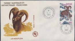 F.S.A.T. (1985) Mouflon. FDC With Cachet.  Scott No C85, Yvert No PA86. - FDC