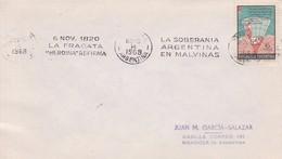 "BANDELETA PARLANTE, LA SOBERANIA ARG EN MALVINAS, 1820 LA FRAGATA ""HEROINA"" REFIRMA 1968. ILES MALOUINES MALVINAS- BLEUP - Falkland Islands"