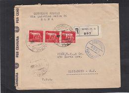 Storia Postale Luogotenenza Busta Del 13/8/1945 Da Roma Per USA Affr. 3 Valori 5 Lire Imperiale In Tarifffa - Storia Postale