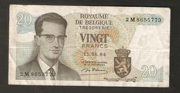 T. Belgium Royaume De Belgique Tresorerie VINGT Francs 20 Frank 1964 # 2 M 8655773 - Zonder Classificatie