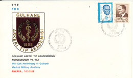 Turkey FDC 14-3-1988 The 90th Anniversary Of Gülhane Medical Military Academy With Cachet - FDC