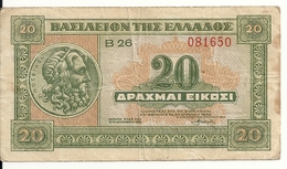 GRECE 20 DRACHMAI 1940 VF P 315 - Grèce