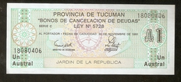 T. Argentina Provincia De Tucuman Un 1 Austral 1991 Jardin De La Republica Ser. C # 18080406 - Argentine
