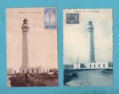 Maroc Casablanca Le Phare D' El Hank Lot De 2 Cartes Postales Dont 1 Avec Cachet Militaire Artillerie De Campagne - Casablanca