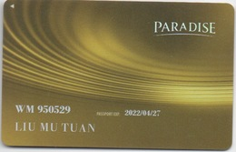 RARE Carte De Membre Casino PARADISE : Chez Sheraton Walker Hill, Seoul, Corée Du Sud - Cartes De Casino