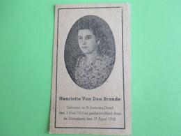 Bidprentje Henriette Van Den Brande-geboren St.Joris Ten Distel-oorlogsslachtoffer - Décès