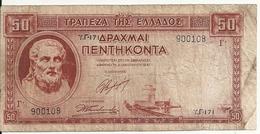 GRECE 50 DRACHMAI 1941 VG+ P 168 - Grèce