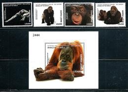"""Sierra Leone    """"Gorillas""""    Set & Souvenir Sheet    SC# 4444-48      MNH - Gorillas"""