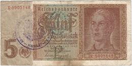 Bélgica (ocupación Alemana) - Belgium 5 Reichsmark 1945 Sello Malmedy RARO Ref 801-2 - [ 3] Ocupaciones Alemanas En Bélgica