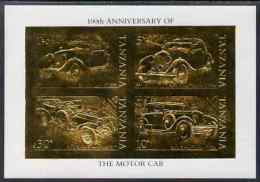 83210 Tanzania 1986 Centenary Of Motoring Imperf M/sheet Embossed In 22k Gold Foil Similar To SG MS 460 (vintage Cars) - Cars