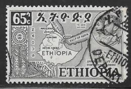 Ethiopia, Scott # 331 Used Map, 1952, Round Corner - Ethiopia