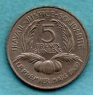 (r65)  GUINEE  5 Francs 1962  KM#5 - Guinea