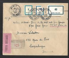 Lettre Valeur Déclarée  Recommandée  Centre D'instruction De Nancy 01  07 1952  - YT Fictifs Vers Copenhague - Postmark Collection (Covers)