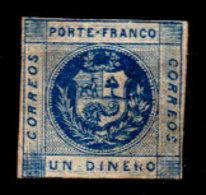 Peru-0011 - Emissione 1859 (sg) NG - Difettoso Al Verso. - Peru