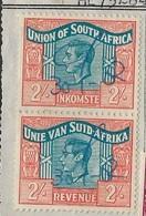 "S.Africa, GVIR Revenue,2/= 1951 Language Error, Vert Pair Used 1952 On ""Santam"" Document - Zuid-Afrika (...-1961)"