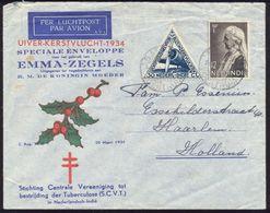 1934 Special Flight Cover Emma Zegels Batavia Centrum To Haarlem Holland - Netherlands Indies