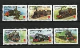 "Cambodia 2001 International Stamp Exhibition ""Philanippon 2001"" - Tokyo, Japan - Trains.MNH - Cambodge"