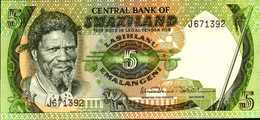 SWAZILAND 5 LILANGENI De 1984nd Pick 9b  UNC/NEUF - Swaziland