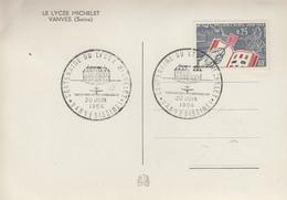 Carte  FRANCE   Centenaire  Du  Lycée  MICHELET    VANVES  1964 - Gedenkstempels