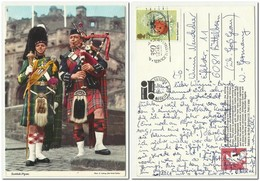 Scottish Pipers , Costums Musicians Pipe , Used Stamp Insect Seven Spotted Ladybird - Dogana