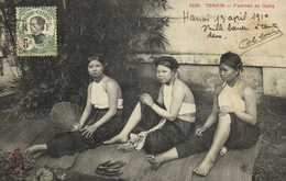 TONKIN Femmes Au Repos + Timbre 5c Indo Chine RV - Viêt-Nam
