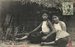 TONKIN  Les Deux Amies + Timbre 5C Indo Chine RV - Viêt-Nam