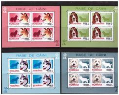 ROMANIA 2001 Dogs 4 MS   MNH - Blocs-feuillets