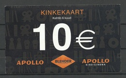 ESTLAND ESTONIA 10 EUR Apollo Cinema Geschenkkarte Private Geld Money 2018 USED Benutzt - Estonie
