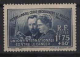 France (1938) Yv. 402  / Joint Issue - Medicine - Curie - Medecin - Against Cancer - Geneeskunde