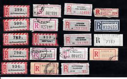 Aantekenen Strookjes, Registered Mail, Germany, Netherlands, Poland, India, UK, 19 St. - Verzamelingen (zonder Album)