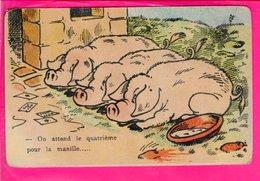 Cpa Carte Postale Ancienne  - Humour Cochon On Attend La Quatrieme Pour La Manille - Humour