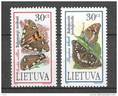 Lithuania Lietuva 1995 Mi 589-590 MNH BUTTERFLIES - Vlinders