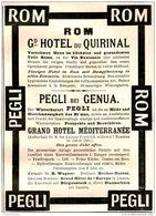 Original-Werbung/ Anzeige 1897 - ROM / GRAND HOTEL DU QUIRINAL / PEGLI - Ca. 80 X 130 Mm - Werbung