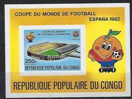 """Congo Bloc YT 24 NON DENTELE """" Coupe Monde Football, Espana """" 1980 Neuf** - Congo - Brazzaville"""