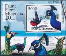 D- [39350] **/Mnh-Comores 2011 - BL2154, Faune, Les Oiseaux, Les Paons, Paon Bleu. - Peacocks