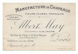 Carte De Visite  -  Paris  - Albert May  Manufacture De Chapeaux 96 Rue De Cléry Et 10 Rue Chenier - France