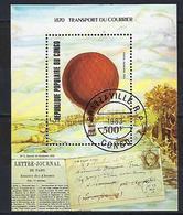 """Congo Bloc YT 34 """" Transport Du Courrier Par Ballon """" 1983 1er Jour - Congo - Brazzaville"""