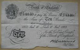 Rare 10 Pounds 1933 Leeds - Operation Bernhard Forgerie (WPM 329?) - 10 Pounds