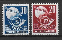 WÜRTTEMBERG - YVERT  N°51/52 ** - SANS CHARNIERE - COTE = 17 EURO - Zone Française